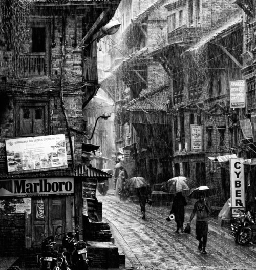 Anuar Patjane, A torrential monsoon rain in Bhaktapur, Nepal