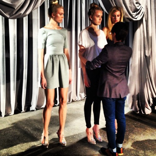 @csiriano working with the models preshow #nyfw #fashionweek  (Taken with Instagram at Eyebeam Art & Technology Center)