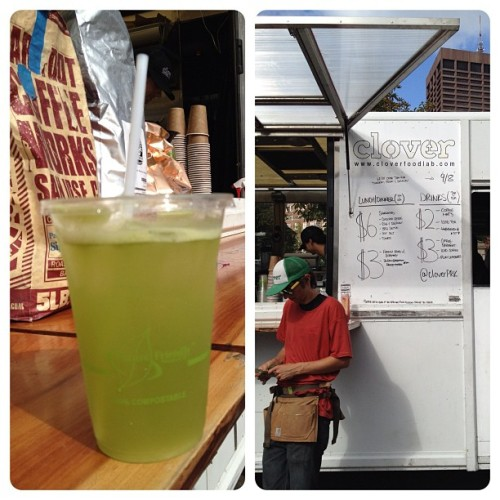 @cloverfoodtruck mint lemonade-note that the employee is wearing sweat wicking undershirt to beat the heat!  #athleticwearforeveryday (Taken with Instagram)