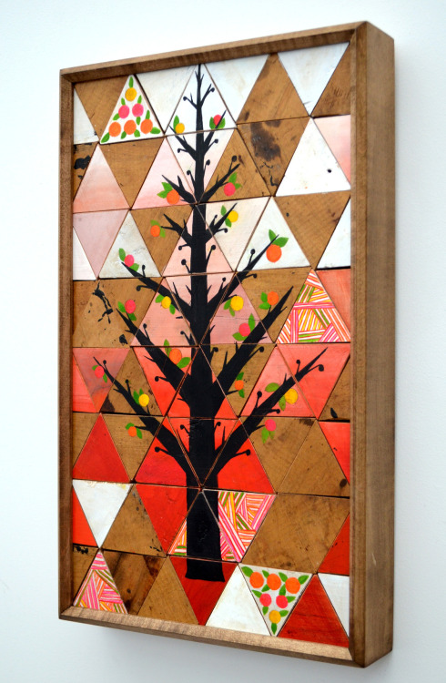 Lisa Congdon, Connected. Reclaimed wood and gouache. This piece is featured in the exhibition Do Not Destroy: Trees, Art, and Jewish Thought, ending Sunday!