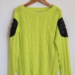 Studded Patch Lime Sweater @ MickeysGirl.com 😍😍😍💚 (Taken with Instagram)