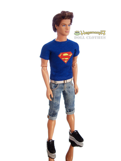 Ken doll in Superman T shirt and washed worn jeans shorts with belt on Flickr.Via Flickr: Doll clothes and photo made by Hegemony77