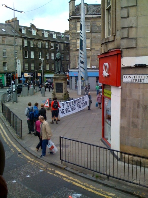 "Angry people in Edinburgh vent their frustration at the subordination of working people. ""If you exploit us, we will shut you down."""