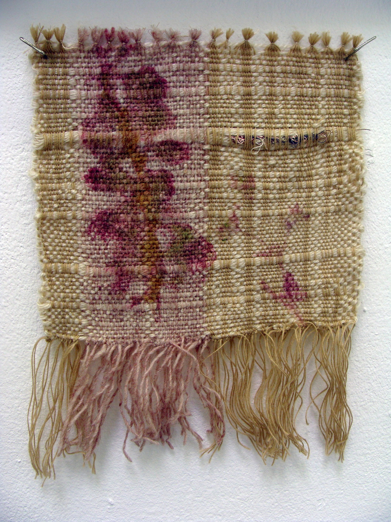 Tiny tapestry weaving with a botanical dye print from a red barberry shrub, woven by Stephany Latham.  An amazing dye plant that makes a hot pink color.