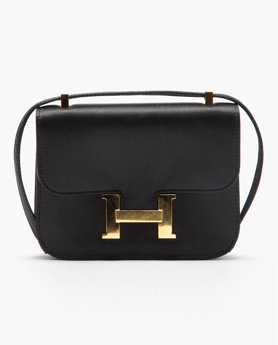 what-do-i-wear:  HERMES VINTAGE // MICRO BLACK SATIN CONSTANCE EVENING BAG