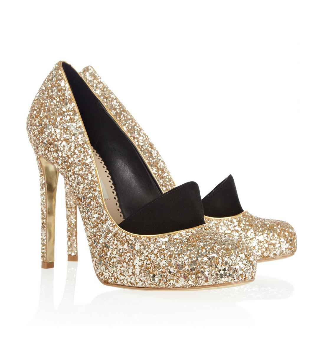 STELLA MCCARTNEY, Glitter-finished faux leather pumps