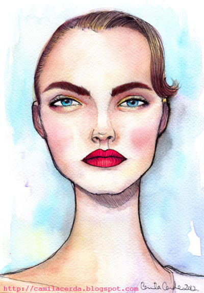 *Cara Delevingne* Portrait Watercolor, ink pen Illustration by Camila Cerda