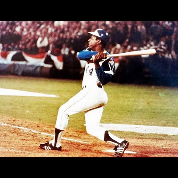 This Day In Baseball History: September 8,1973 - Hank Aaron hit his 709th home run.   keepinitrealsports.tumblr.com  pinterest.com/mysterkeepinit  Instagram - @Myster_Keepinit  Twitter - @MysterKeepinit  keepinitrealsports.wordpress.com  flickr.com/keepinit_real_sports   #keepinitrealsports #History #HankAaron #homerun #MLB #Baseball #Sports #MysterKeepinit (Taken with Instagram)