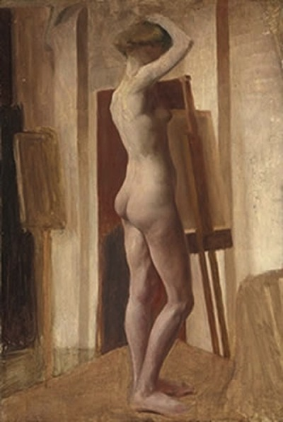 Hilda Carline (1889-1950), Standing female nude in a studio