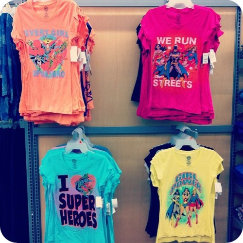 Spotted at Wal-Mart: a variety of affordable DC Comics shirts (cheesy slogans included!)