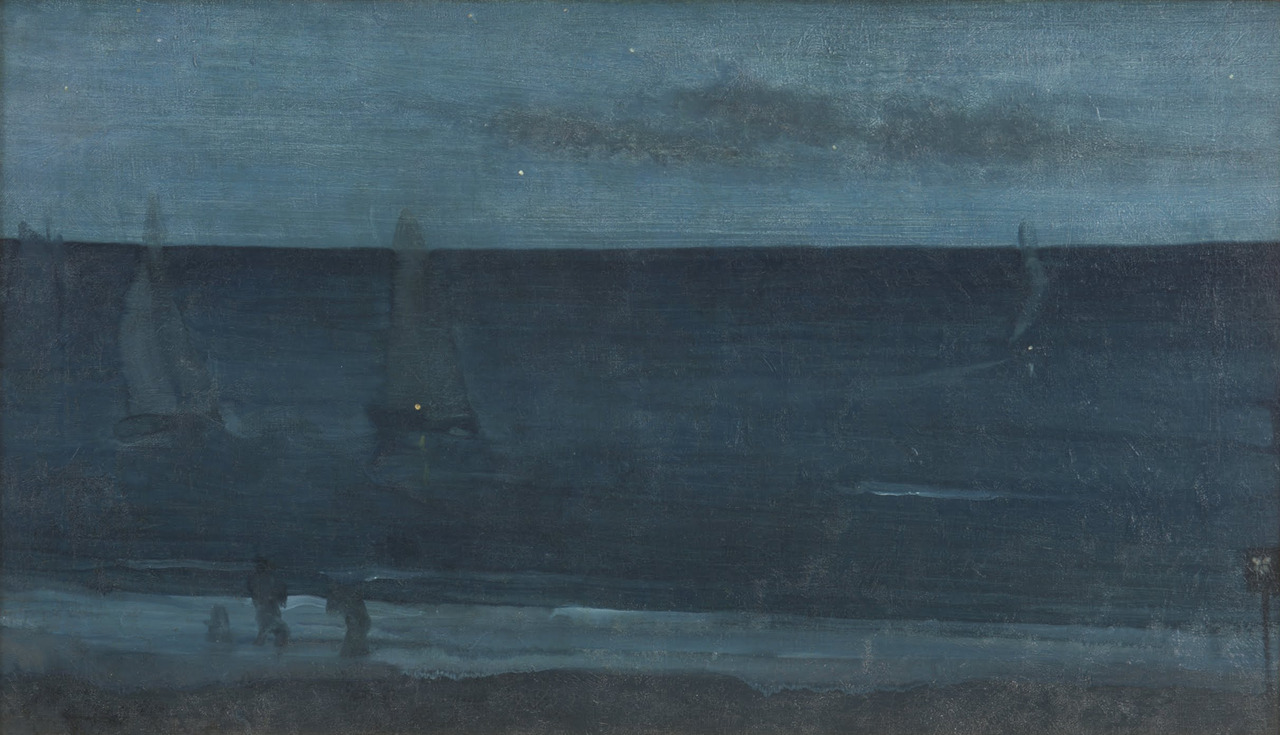 James Abbott McNeill Whistler, Nocturne: Blue and Silver—Bognor, 1871-76 Ian's out of town and more out of touch than usual and I miss him terribly so I'm looking at art that makes me think of him; this is definitely Ian.
