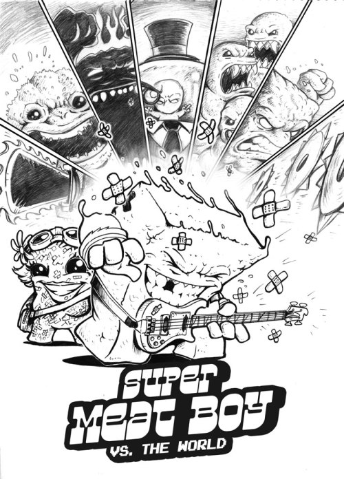Scott Pilgrim and Super Meat Boy mashup. How can you say AWESOME? edmundmcmillen:  http://1behemoth1.deviantart.com/art/Comic-Game-mashup-Super-Meat-Boy-vs-the-World-326034572