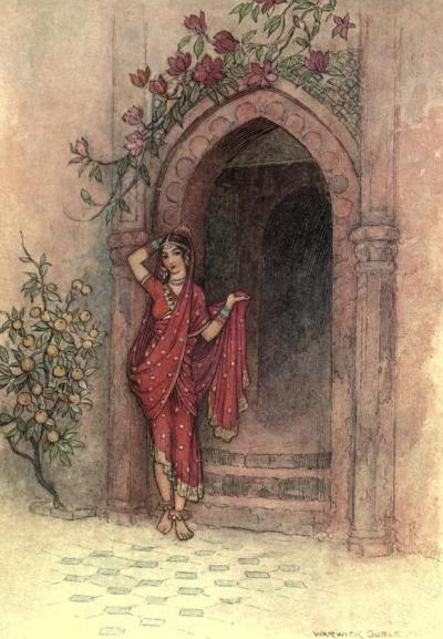 "Folk-tales of Bengal 1912Illustrations by Warwick Goble""At the door of which stood a lady of exquisite beauty."""