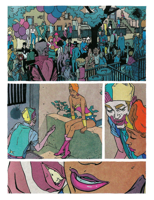 "Vertigo published Ronald Wimberly's Prince of Cats last week, an adaptation of Romeo and Juliet through the eyes of Tybalt, set in 80s graffiti culture New York. It's gorgeously illustrated, depicting katana duels and sincere, intimate ""summer of our youth"" moments with equal skill. Its dialogue is a clever and ceaselessly fun mashup of Shakespeare's original text with a casual ""aw shit girl"" street cadence. All these elements combine perfectly, and go down real smooth. Definitely one of my favorite books of the year, I can't recommend it enough. Above is a silent scene where Arzach makes an appearance at a local block party. You can see more pages in this preview over at Flavor Wire, too."