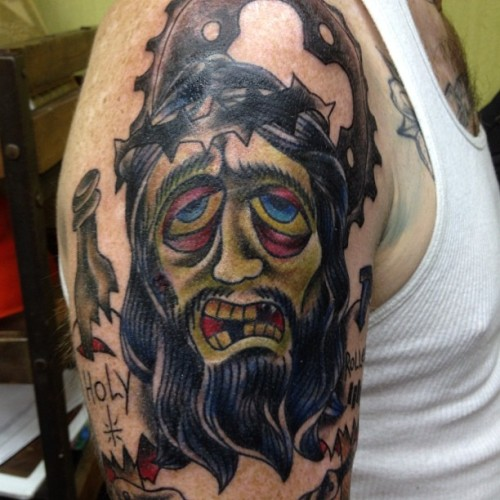 Zombie Jesus on Spencer. #tattoo #tattooart #traditionaltattoo #jesus #art #joby #jobyc #jobycummings  (Taken with Instagram at Cat Tattoo)