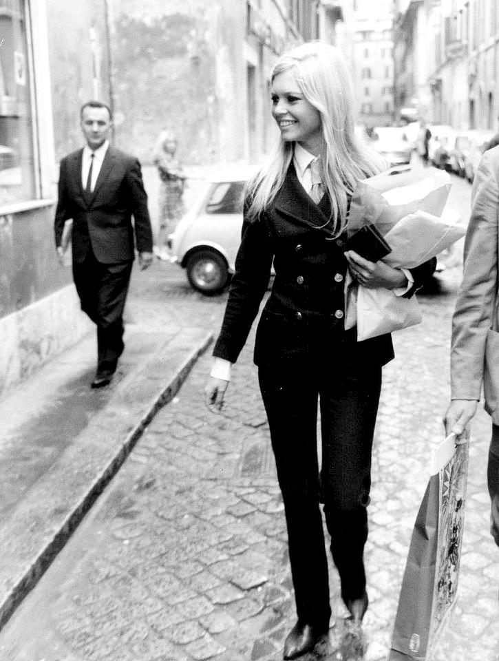 Brigitte Bardot walking in Paris, 1967.