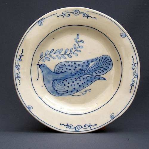 snowonredearth:  luncheon plate with dove by mickmarineau+ barbjensen on Flickr.