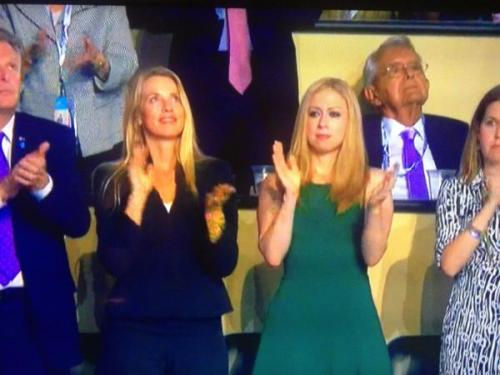 Laurene Powell Jobs, with Chelsea Clinton, watching Bill Clinton's DNC speech.  [via HuffPo]
