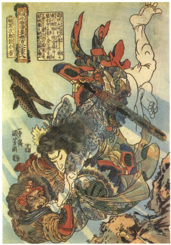 amyipaguana:  Utagawa Kuniyoshi  Tameijiro dan Shogo, one of the 108 Heroes of the Suikoden, grappling with an adversary under-water. 1827-1830 \