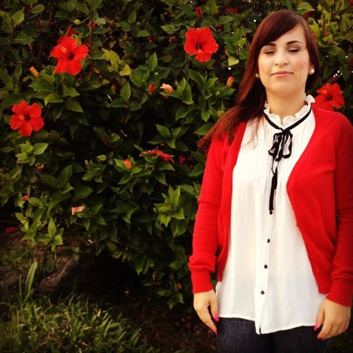 Eyes Closed 😌 #red #ootd #flowers #me  (Taken with Instagram)