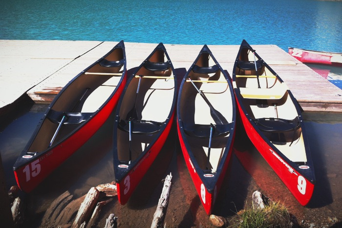 Canoes at the lake.