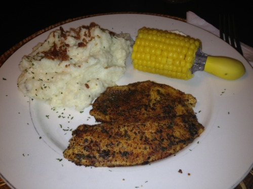 Cajun tilapia, twice baked mashed potatoes with bacon and corn-on-the-Cobb! Delish!