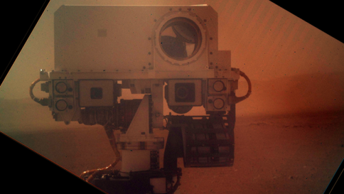 "Curiosity snaps a self-portrait from the surface of Mars ""And it doesn't even have to make duck face."" (well played, @samsabri)"