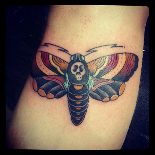 My deaths head hawk moth, with a little zaz to it.  Done by Tristan Bauer in Melbourne, Australia.