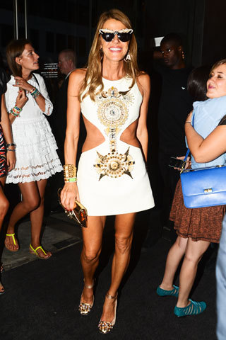 Anna Dello Russo wearing a Fausto Puglisi dress at Emporio Armani opening, NYC photo: BFANYC.com