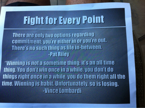 Fight every point