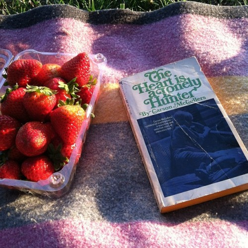 Strawberries & Carson McCullers in the park.
