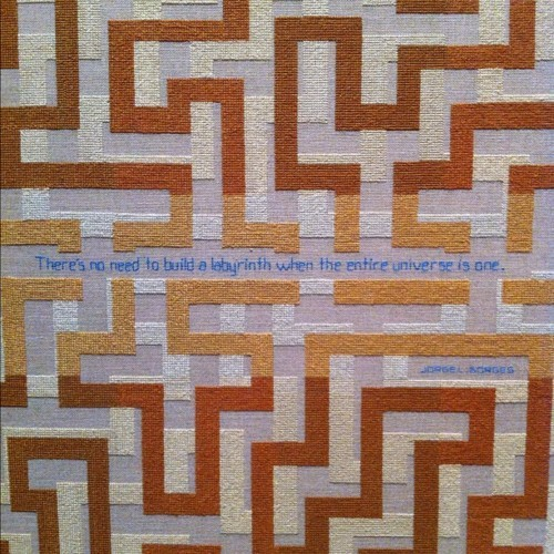 Elaine Reichek, There's No Need, 2011. Hand embroidery on linen, 46 x 45 in. (116.8 x 114.3 cm). © Elaine Reichek; collection of the artist; courtesy Nicole Klagsbrun Gallery, New York and Shoshana Wayne Gallery, Santa Monica, CA.  In short, the Ariadne-aspect of your soul is more important than ever.
