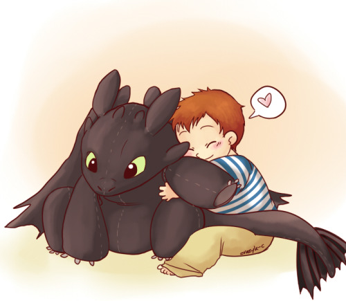 crazyk-c:  The lovely queenkatifire requested a pic of toddler Peter hugging a plushie of Toothless (Hope you like it ;D)