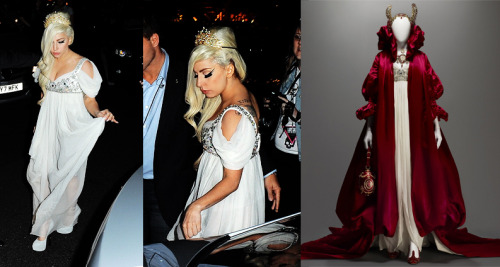 Lady Gaga wearing a 130 thousand Dollar Alexander McQueen - Daphne Guinness archive white gown. The runway look on right, Gaga in London 9/8/12 on the left. Sale of the collection went towards Isabella Blow Foundation.