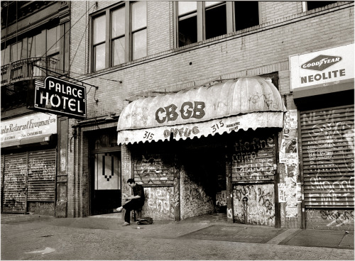 80srecordparty:  CBGB by Matt Weber (1986)  One of my life's proudest achievements was standing on the tiny, dirty-ass stage here before it got turned into a storefront.