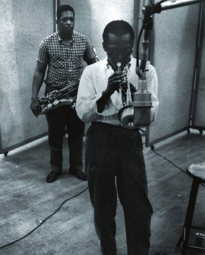 vimandvigour:  Two of the greatest. John Coltrane with Miles Davis, Columbia Recording Studios, New York,1958