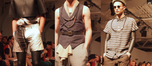 Details at Robert Geller Spring 2013. Lots of layers, stripes, leathery leggings and slick models.