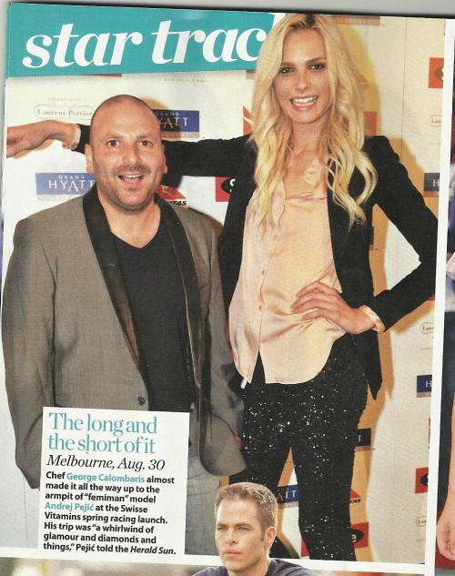 Andrej Pejic & Chef George Calombaris at the Swisse Vitamins Spring Racing Launch (Scan from @flossies_army)