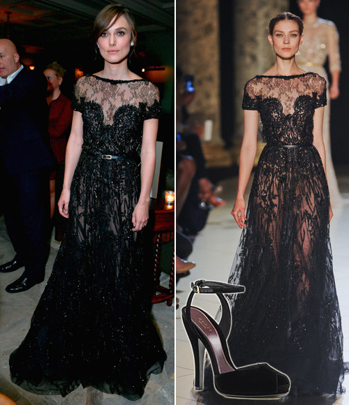 Keira Knightley attended the premiere of 'Anna Karenina' during the 2012 Toronto International Film Festival on Friday in Toronto, Canada wearing an Elie Saab Fall 2012 Couture gown and Gucci rose open-toe high heel velvet sandals ($695)