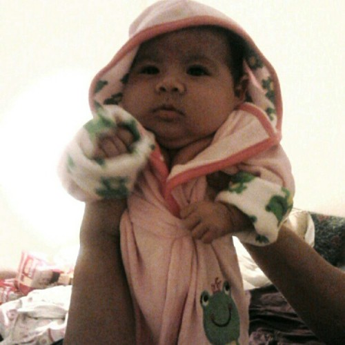 Mi amor after her bath (: ihave such a cute baby . <3 lol :) (Taken with Instagram)