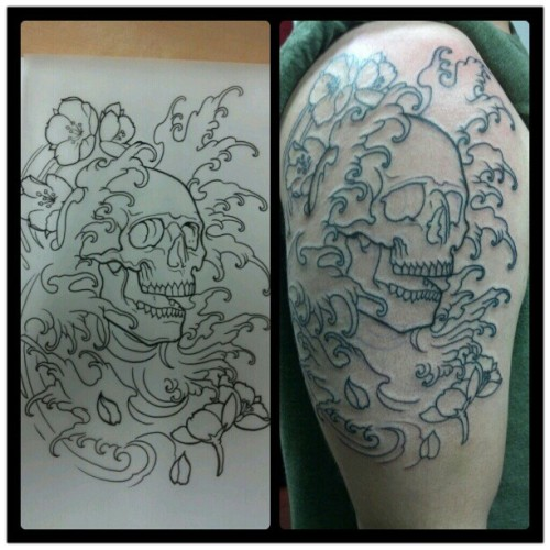 From this to That #drawing #sketch #skull #cherryblossoms #tattoo #fingerwaves #goldentouchtattoo #asiantattoo #halfsleeve #Ser_v1  (Taken with Instagram at golden touch tattoo)