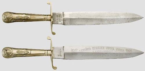 "art-of-swords:  Bowie Knives Culture: English Dated: 2nd half of 19th century Dimensions: length 37cm each Each with a double-edged blade inscribed with the manufacturers name ""Yeoman & Son Sheffield"". One knife has etched railroad motif, the other one features an inscription ""For Service to the American People 1852 - 1877 Wells Fargo Express Company."" Both knives have curved quillons and the grip is covered in German silver.   Source & Copyright: Live Auctioneers"