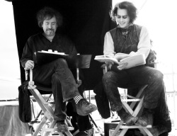 deppparty:  Tim Burton & Johnny Depp on the set of Sweeney Todd. I love candid laughing/smiling shots.