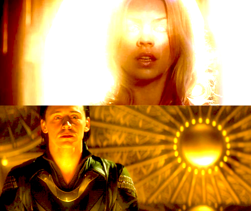 "stardustandtea:  lightneverfades:  Doctor Who / Thor Crossover (Loki/Rose: Roski)- WHAT IF: FANDOM AU -What if: Rose becomes the Bad Wolf when Loki starts to get out of control. (S1 verse in which she is still traveling with the 10th Doctor and finds herself in Asgard, realm of the Gods. What she doesn't count on is falling in love with the God of Mischief.) To try and stop him from killing or hurting anyone else she loves, including Loki himself, she takes in the time vortex. Unfortunately, as she is a human, the vortex itself can kill her. She kills the Frost Giants instead because she thinks that will help Loki's thirst for destruction to fade.  ""I can see everything. All that is. All that was. All that ever could be."" Rose whispers.Loki's eyes fight back tears at these words. ""Rose, stop this! Let go! It will kill you!""Rose, or rather the Bad Wolf, turns to look at him, tears of her own streaming down her cheek. In the golden light, Loki could see the full extent of her beauty. Mortal or not, to him she glowed like the two suns. He could not let this star vanish. ""I want you safe… But why does it hurt so much…?""   Loki moved closer, letting the light overwhelm him. It caused his form to turn dark blue, the illusion that had hidden his true form slipping away as it revealed the monster within. Markings start to quickly chisel itself deep within his skin. His eyes swarmed over to a shade of red. As he moved closer, cold ice started to envelope them, knitting itself with the gold. ""Come here.""Rose looked up, her expression a look of fear and confusion at seeing Loki's true form for the first time. But she did not shy away from him. When he pressed his palm on her cheek and leaned into kiss her, she moved closer so that their lips would touch. Slowly the time vortex started to seep into Loki, mingling with his own magic. It seemed like an effortless feat, but it exhausted so much of Loki's power that when the vortex was finally transfused from Rose to himself, the God staggered to stay on his feet. Rose had fallen unconscious in his arms, sleeping soundly as if nothing had happened.""I want you safe too, Rose."" Loki whispered into her ears, knowing fully that she cannot hear his words. He picked her up in his arms and then, facing the blue Tardis with her glowing doors, released the time vortex to where it truly belonged.With the powers of time and space gone, Loki felt his magic return and his illusionary appearance revert back to its full state. Yet nothing was back to normal. The God can feel a uncontrollable tremor course through his veins as he held his Rose closer to him.    I-I have no words…"