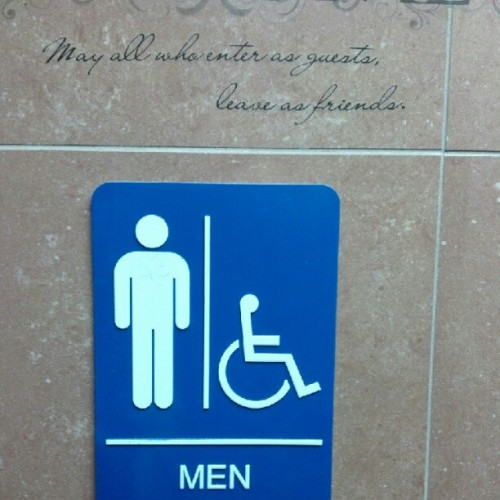 Odd invitation for a gas station men's room (Taken with Instagram)