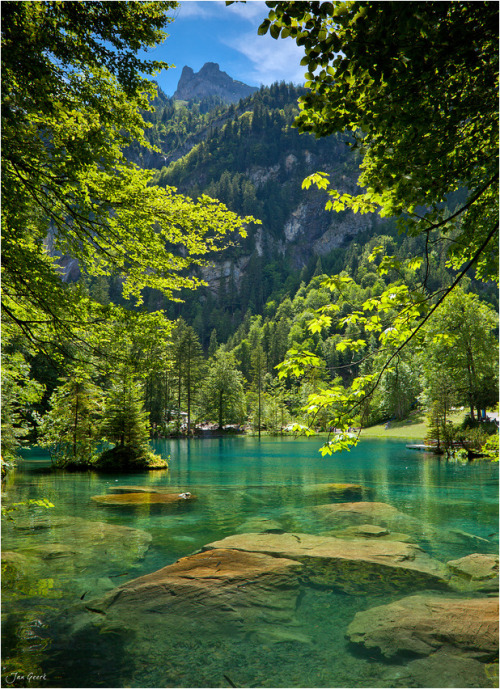 "lori-rocks: Blue Lake, Kandersteg, Switzerland (via 500px / Photo ""Blue Lake"" by Jan Geerk)"
