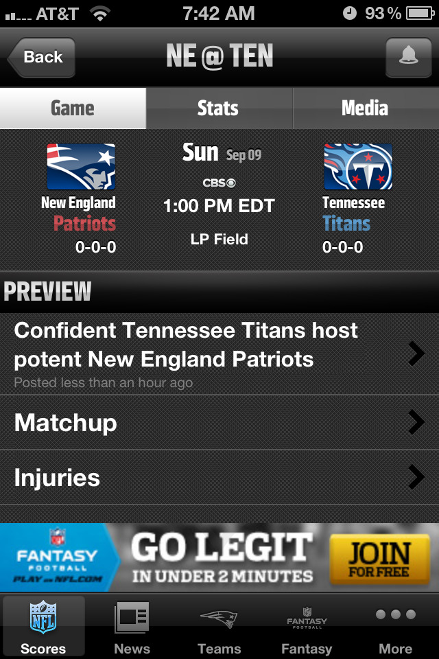 Patriots game today! :-D