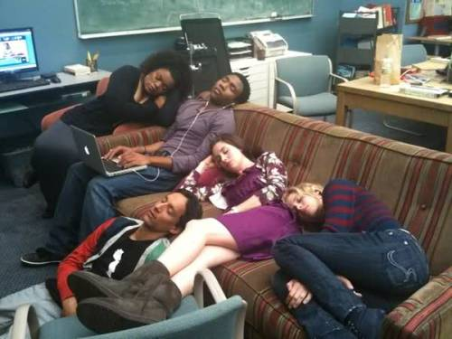 The cast of Community gather to watch an episode of The Big Bang Theory