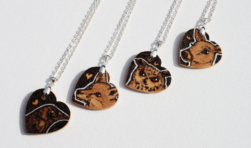 Pyrography Animal Love Heart Pendants by *BumbleBeeFairy FOR SALE HERE: http://www.etsy.com/shop/GemsbyGem?ref=si_shop