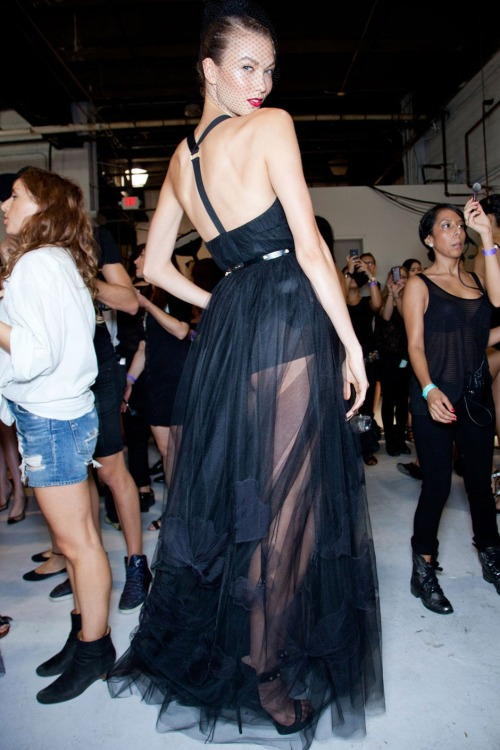Karlie Kloss, backstage at Jason Wu.